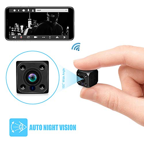 Mini WiFi Hidden Camera, Wireless WiFi Spy Camera with Auto Night Vision Recording Motion Detection Alarm to Your Phone for Home Office Security, HD 1080P Nanny Cam with Magnet fit Indoor Outdoor
