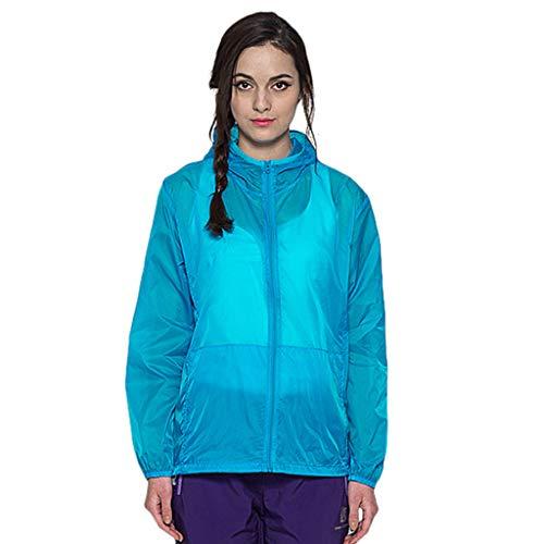 (Funnygals Rain Coat Waterproof Jacket Hooded Rainwear Lightweight Coat Quick Dry Windbreaker Jacket Outdoor Hiking Outwear Blue)