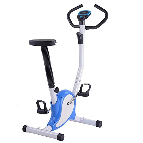 AW Blue Exercise Bike Fintess Cycling Machine w/ LCD Display Personal Gym Cardio Aerobic Equipment