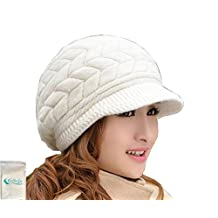 Women Girl's Winter Warm Knit Thicken Hat Wool Snow Ski Caps with Visor