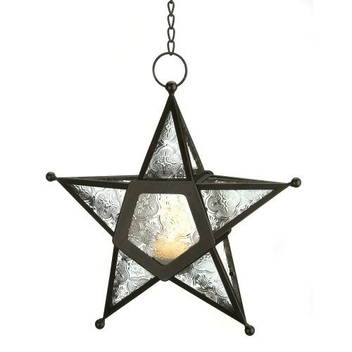 Gifts & Decor CLEAR GLASS STAR LANTERN