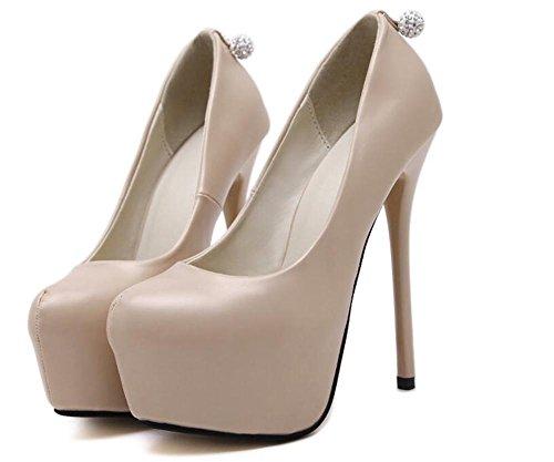 Femmes Court Chaussures Fermé-orteils 14Cm Ultra haut-talon caché Platform Party Chaussures , apricot , 36