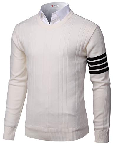 H2H Mens Casual Basic Lightweight V-Neck Long Sleeve Pullover Sweater Ivory US L/Asia 2XL (KMOSWL0241)