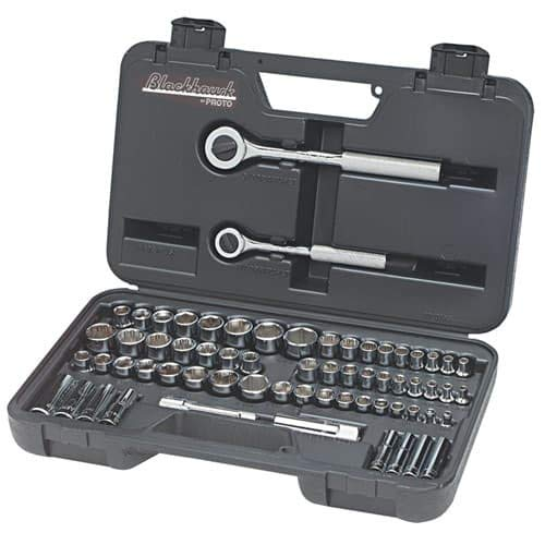 Blackhawk By Proto 97065 Drive Combination Socket Set Containing 1/4-Inch and 3/8-Inch Sockets, 64-Piece