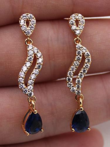 (1 Pair 18K White Gold Filled - Sapphire Style Teardrop Hollow Swirl Lady Earrings)