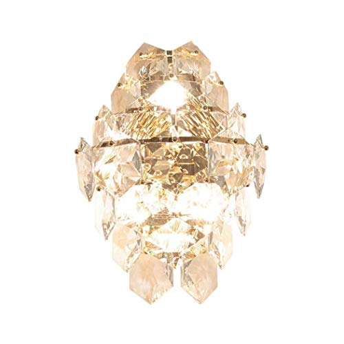 ChuanHan Crystal Wall Lamp, Post-Modern Creative Hexagonal Crystal Glass Luxury Wall Lamp, Parlour Bedchamber Bedside Tv Background Wall Fashion Personality Gold Wall Light E14, K9 Crystal