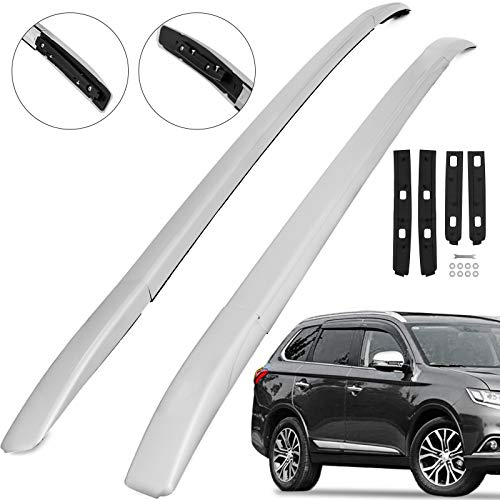 (Mophorn Roof Rack Aluminum Roof Rail Rack Bar Silver Cross Bar Luggage for Mitsubishi Outlander 2013-2019)