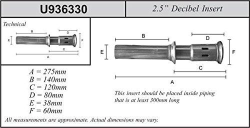 DB Killer Dezibeleinsatz 63,5mm Auspuff leise 60 Endrohr Lautst/ärke Reduzierung