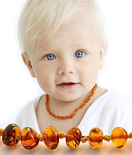 Authentic Amber Teething Necklace - Baltic Amber Necklace - Baby Teething Beads Necklace & Bracelet - Teething Necklace Amber - Real Amber Teething Necklace - Anti Inflammatory Pain Reduce Properties