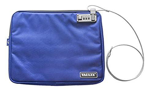 Vaultz Locking Pool Pouch with Tether, Large, 9.5 x 12 Inches, Blue (VZ00725) - Locking Security Bags