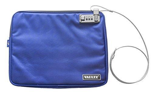 Vaultz Locking Pool Pouch with Tether, Large, 9.5 x 12 Inches, Blue (VZ00725)