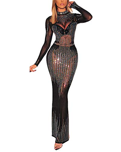 Nhicdns Women's Rhinestone Long Sleeve See Through Mesh Sheer Elegant Dresses Evening Maxi Dress Gown Black S