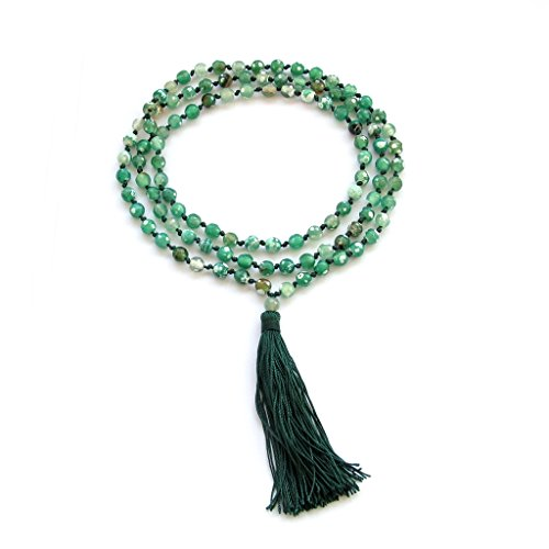 OVALBUY 108 Green Flower Agate 6mm Beads Knotted Tibetan Buddhist Prayer Japa Mala for Meditation