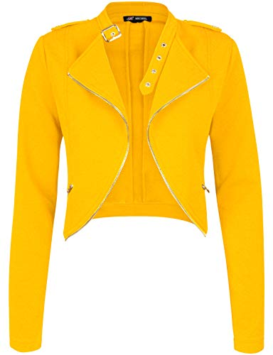 Michel Womens Fleece Jacket Classic Crop Rider Zip UP Jacket Yellow Medium