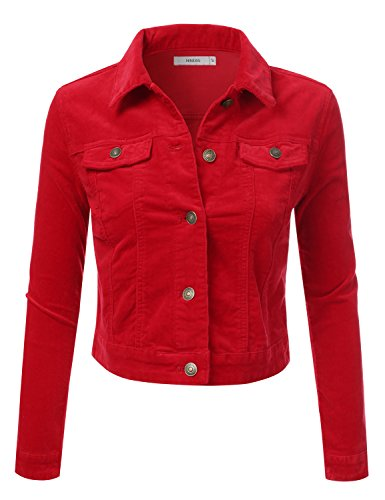 NINEXIS Women's Long Sleeve Corduroy Jacket w/ Chest Pockets RED