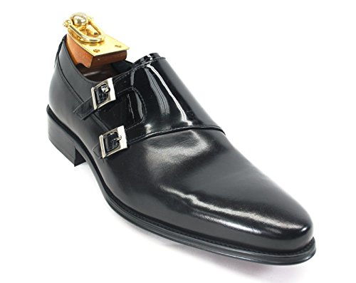 Carrucci Men's Genuine Polished Calfskin Leather Italian Design Italy Double Monk Strap Slip-On Loafer Shoes KS099-3003, Black, 9.5 Italy Calf Mens Dress Shoes