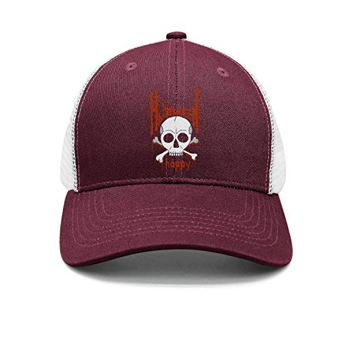 Unisex Classic Mesh Baseball Cap-Halloween Stickers 3D Skull Blood Style Low Profile Travel Sunscreen Hat -