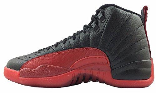 Air·Jordan Men's Jordan Retro 12 Retro Flu Games Leather Shoes Black/Red 130690-002 US12