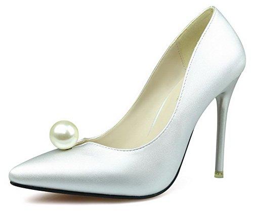 AalarDom Damen Mittler Absatz Spitz Zehe Ziehen Auf Blend-Materialien Pumps Schuhe Silber-Juwelen