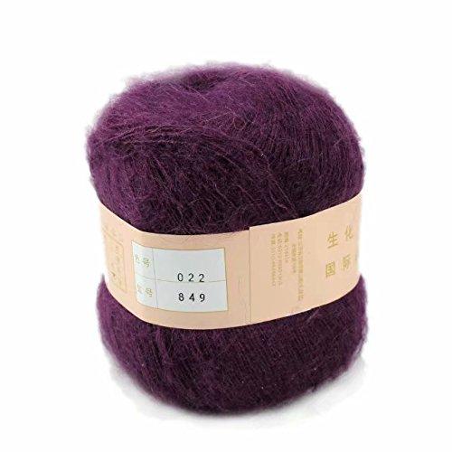 Celine lin One Skein Soft&Warm Angola Mohair Cashmere Wool Knitting Yarn 50g,Deep purple