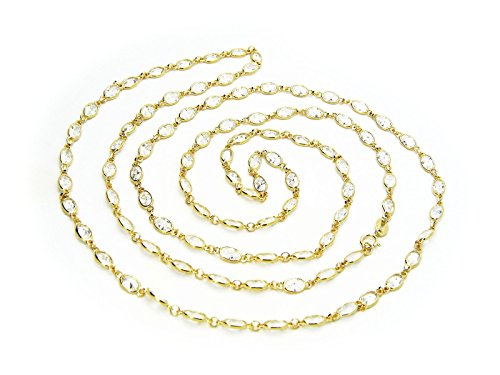 Yard Gold Vermeil Necklace - Fronay Co Vermeil Cz By the Yard Station Necklace, 36