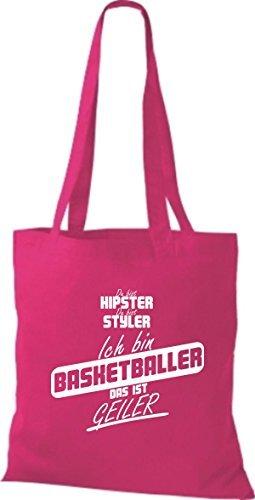 Shirtstown Stoffbeutel du bist hipster du bist styler ich bin Basketballer das ist geiler pink Mht7U