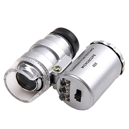 KINGMAS Mini 60x Microscope Magnifying with LED UV Light Pocket Jewelry Magnifier Jeweler Loupe