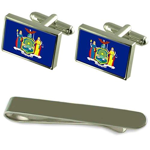 New York de manchette argent drapeau un Ensemble cadeau Cravate