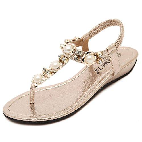 Minetom Mujer Sandalias Bohemio Estilo Peep Toe Zapatos Nuevo Verano Playa Sandalias Dorado