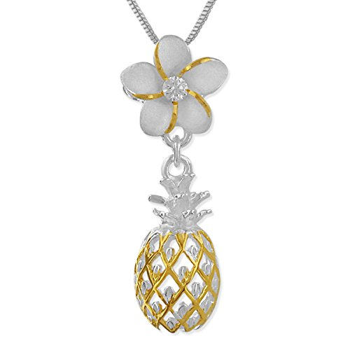 Hawaiian Plumeria Pendant - Sterling Silver 14kt Yellow Gold Plated Accents Plumeria Dangling Pineapple Pendant Necklace, 16+2