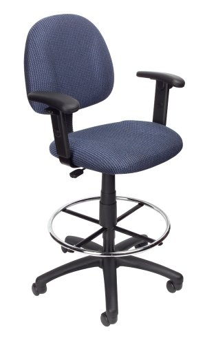 Boss Office Products B1616-BE Ergonomic Works Drafting Chair with Adjustable Arms in Blue