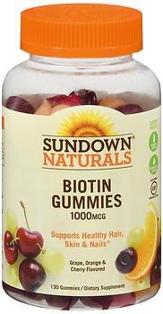 Sundown Naturals Biotin 1000 mcg Gummies Grape, Orange and Cherry Flavored - 130 ct, Pack of 2