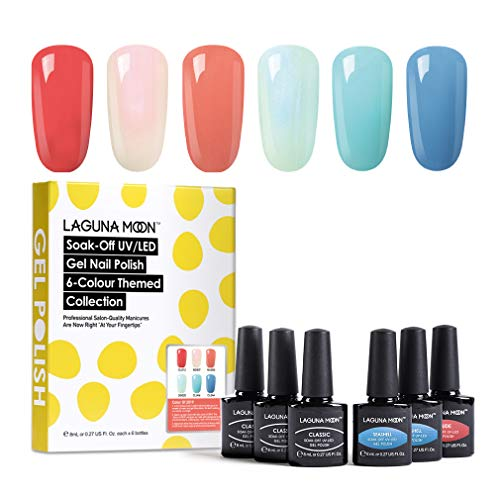 Lagunamoon Gel Nail Polish Set UV LED Soak Off Gel Nail Colours Varnish Nail Art Kit 6PCS (Color of 2019)