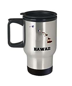 I Love Hawaii Travel Coffee Mugs Travel Coffee Cup Sets - Travel Mug Travel Coffee Mugs Tea Cups 14 OZ Gift Ideas State Love Gift Idea