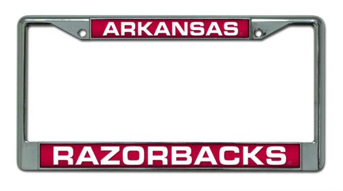 Arkansas Razorbacks Laser Cut Inlaid Standard Chrome License Plate Frame ()