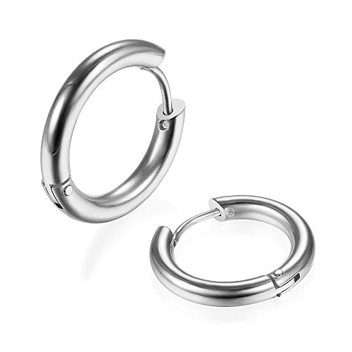 316L Surgical Stainless Steel Tiny Huggie Hoop Earrings 6mm Hypoallergenic Earrings Small Hoop Cartilage Helix Lobes Hinged Sleeper Earrings for Girls Women(6mm Silver)