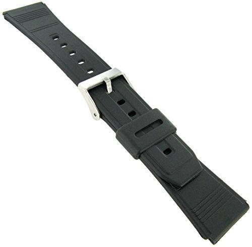 22mm Black Regular-Length Silicone Fits Casio Data Bank Watchband