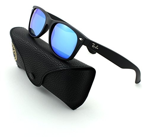 Ray-Ban RB2132 New Wayfarer Unisex Sunglasses (Rubber Black Frame/Grey Mirror Blue Lens 622/17, - 52 New Wayfarer 622 Rb2132