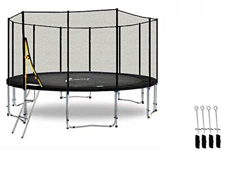 LS-T400-PA13 (SDA) DELUXE LifeStyle ProAktiv Garten- Trampolin 400 cm - 13ft - Extra Starkes Sicherheitsnetz - 180kg Traglast - TÜV/GS/CE
