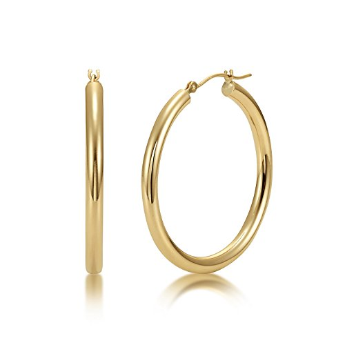 (High Polished 14k Yellow Gold 3mm x 35mm Click Top Tube Hoop Earrings - By Kezef Creations)