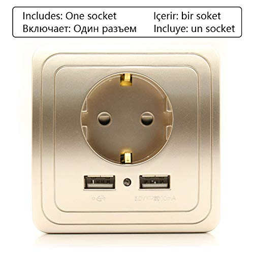 (ZUO JIAFAN Dual USB Socket Power Outlet Socket with EU Plug 2A Wall Charger Adapter Electric Wall Charger Adapter Charging USB Gold Socket 110-250V)