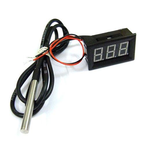 DROK Car Digital Thermometer -55-125°c Temperature Sensor DS18b20 Probe, Green LED Display