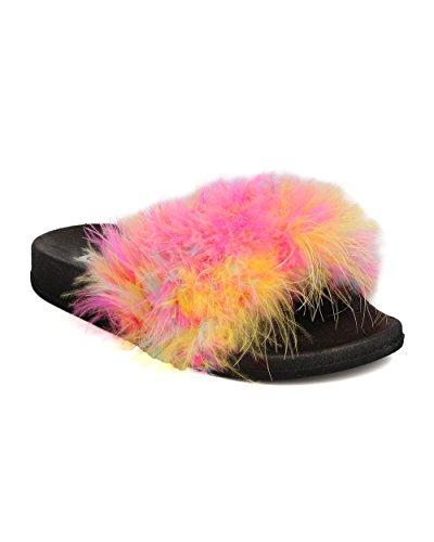 Cape Robbin Fh37 Donna Piuma Soffice Open Toe Slip On Sandal - Colorato