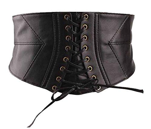 Damas de moda cinturón PU de cuero cinturón de ancho cinturón vestido [Blanco]