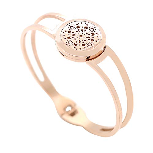 KOKO AROMA Essential Oil Diffuser Bracelet Bracelets: Stainless Steel Aromatherapy Bangle or Leather Jewelry Woman Birthday Gifts for Mom,Sister,Girlfriend (Koko Living)