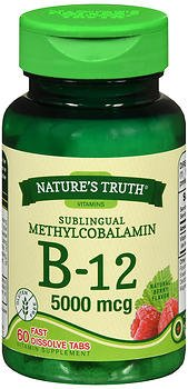Nature's Truth Sublingual Methylcobalamin B-12 5000 mcg Fast Dissolve Tabs Natural Berry Flavor - 60 ct, Pack of 5