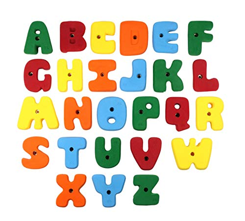 Alphabet Climbing Holds - XL Bolt On Alphabet ABC Set l Climbing Holds l Mixed Bright Tones