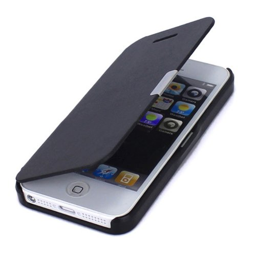 Generic Magnetic Flip Synthetic Leather Hard Skin Pouch Wallet Case Cover For Apple iPhone 5 5S 5G Black