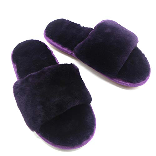 nice Women's Open Toe Flip Flop, Soft Slide Flat House Plush Slippers for Indoor Outdoor Watermelon Purple save more