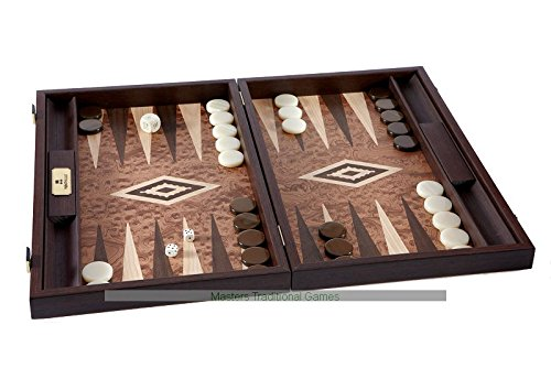 Manopoulos Walnut Burl Backgammon Set - Burl Veneer Game